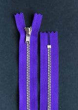 18cm.  YKK Metal, Closed End Zip - Purple