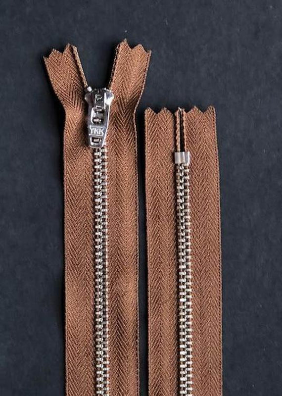 16cm.  YKK Nickel Closed End Zip. Tan