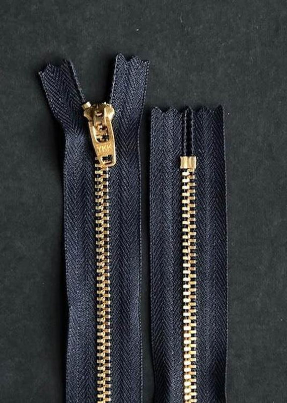 16cm.  YKK Brass Closed End Zip. Navy