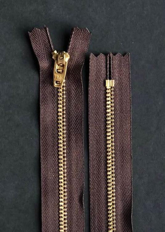 16cm.  YKK Brass Closed End Zip. Brown