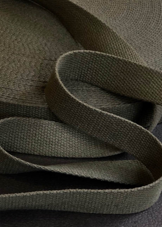 Heavy Cotton Webbing - Fern Green, 25mm