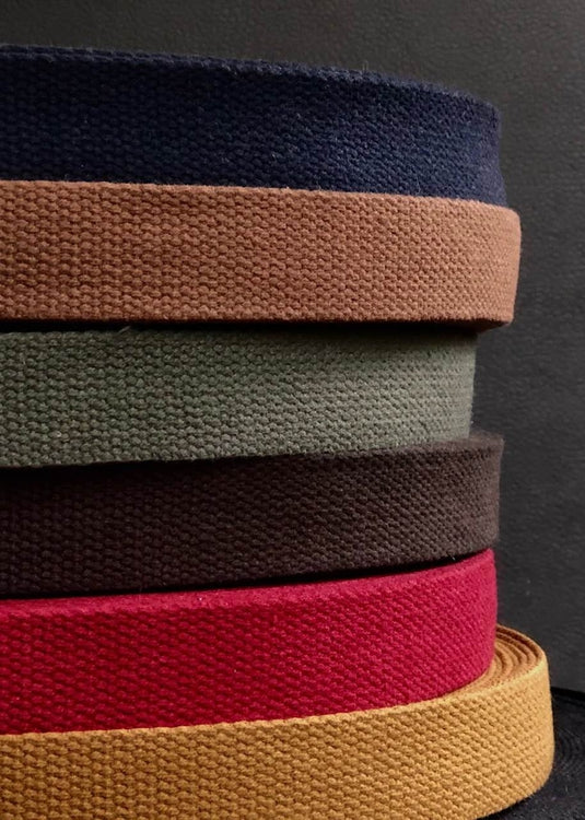 Heavy Cotton Webbing - Chocolate Brown, 25mm