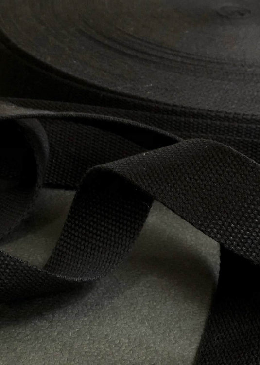 Cotton Webbing - Black, 32mm