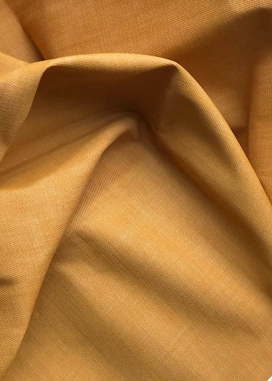 Cone Mills Loomstate Mustard Yellow Denim. 9.75 oz