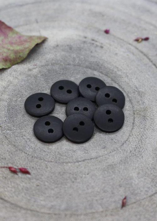 Classic Matt Buttons - Black. 10mm, 12mm, 15mm.