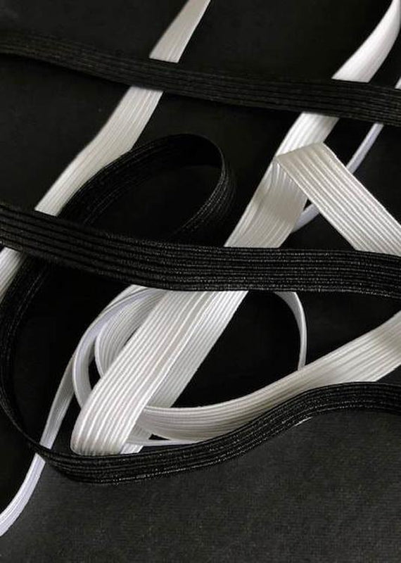 10mm Braided Elastic - White or Black