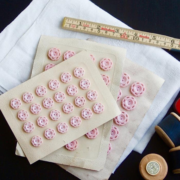 Vintage 1950's Buttons, Baby Pink Large
