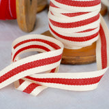 Cotton Twill Tape - French Stripe, Red or Black, 19mm