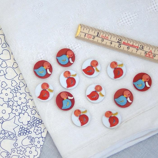 Vintage Italian Duck Buttons - White