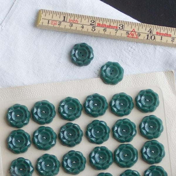 Vintage Geometric Buttons, Racing Green 22mm