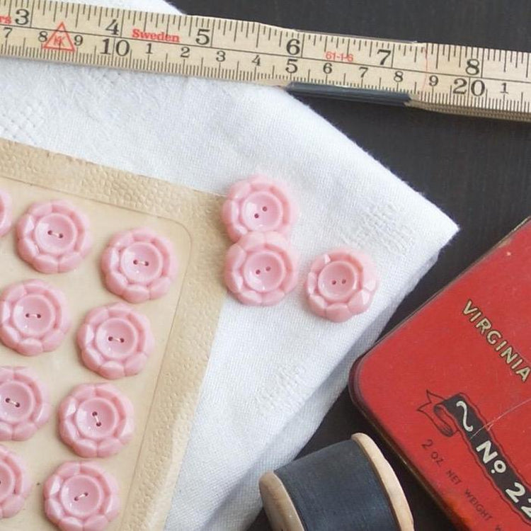 Vintage Geometric Buttons, Powder Pink 22mm