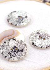 Black and White Roses - Shell Buttons 30mm