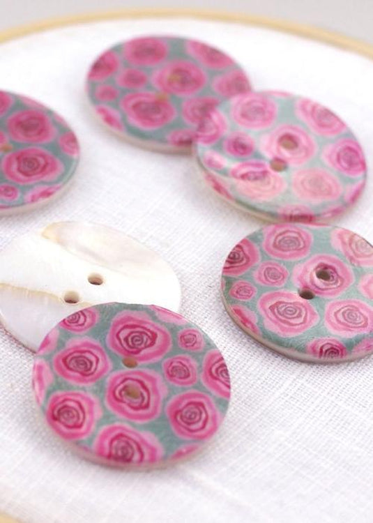 Pink Roses - Shell Buttons 30mm