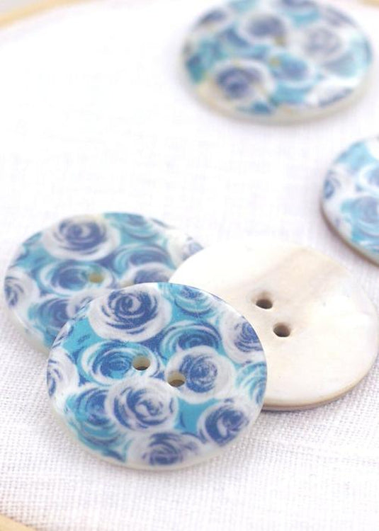 Turquoise Roses - Shell Buttons 30mm