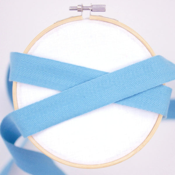 Cotton Twill Tape - Azure, 25mm