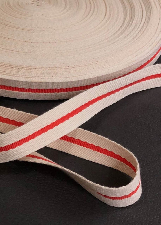 Cotton Webbing - Cream with Red Stripe, 22mm