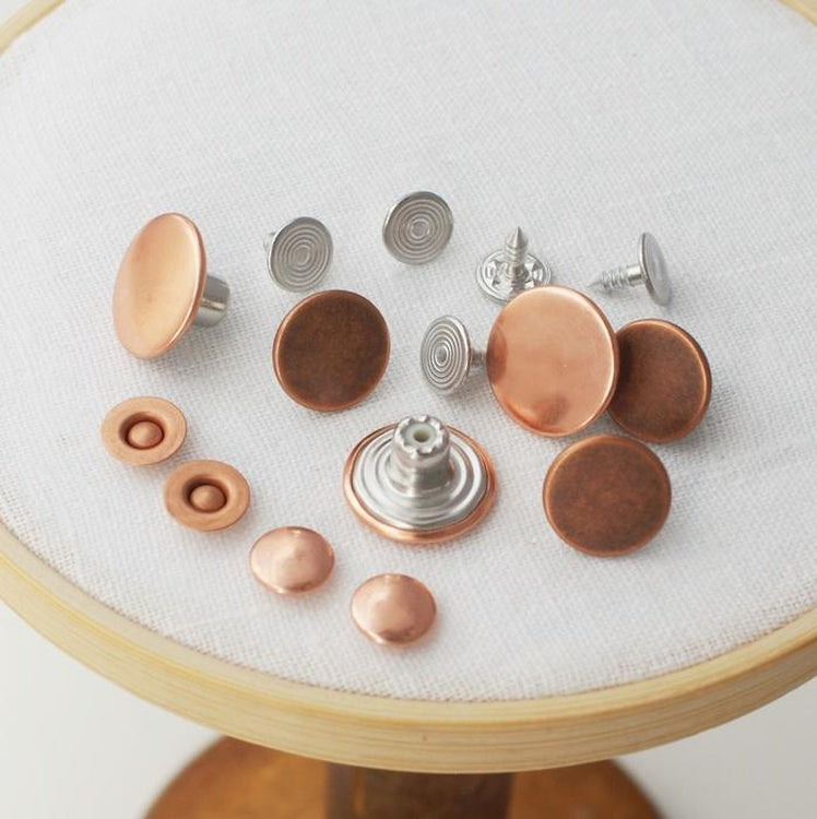 Jeans Buttons - pack of 5. Copper. 17mm