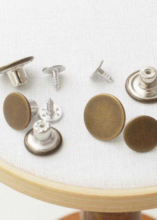 Jeans Buttons - pack of 5. Antique Bronze.  17mm or 14mm