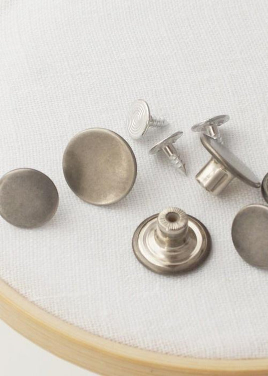 Jeans Buttons - pack of 5. Antique Nickel.  17mm or 14mm