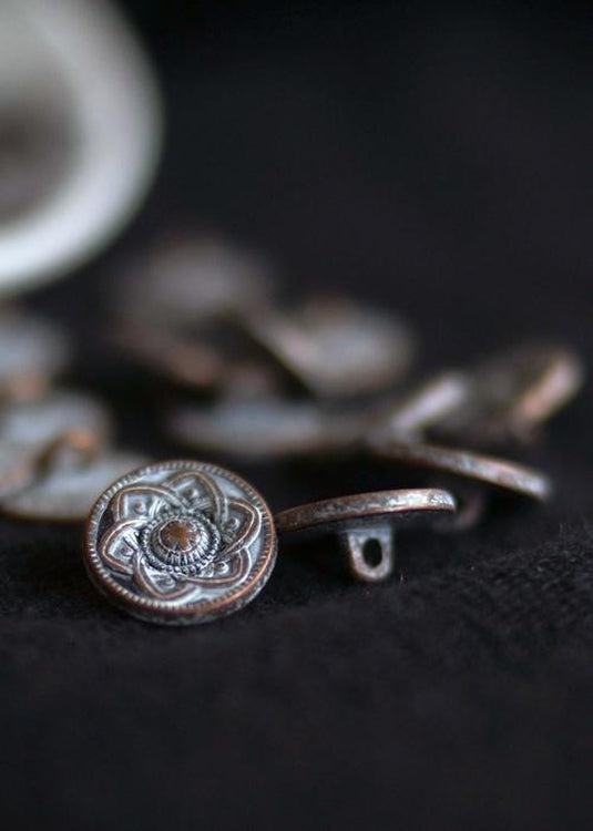 Metal Shank Buttons - copper with white 15mm