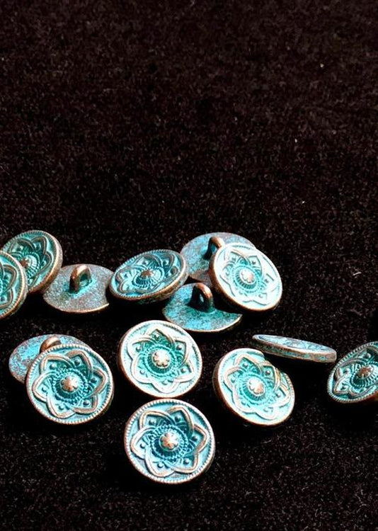 Metal Shank Buttons - copper with turquoise 15mm