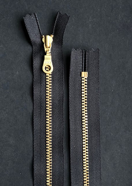 YKK Brass Zip with Donut Pull, Black