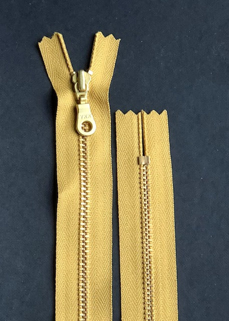 YKK Brass Zip with Donut Pull, Mustard