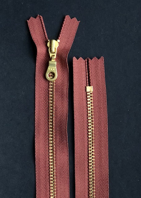 YKK Brass Zip with Donut Pull, Russet