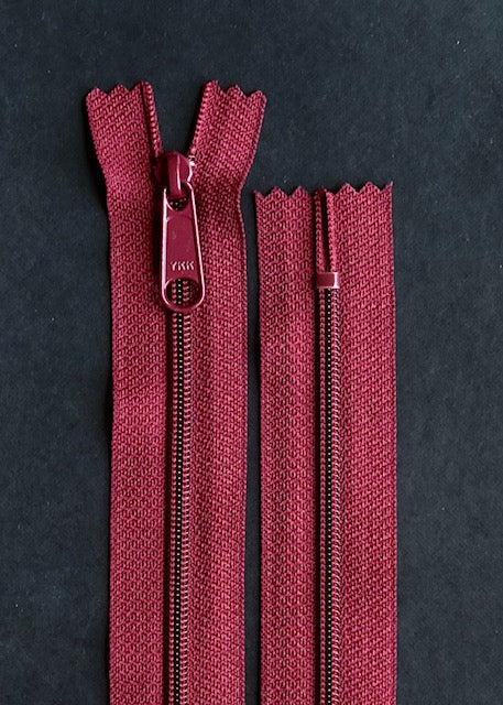 YKK Long Pull Closed End Zip, Wine
