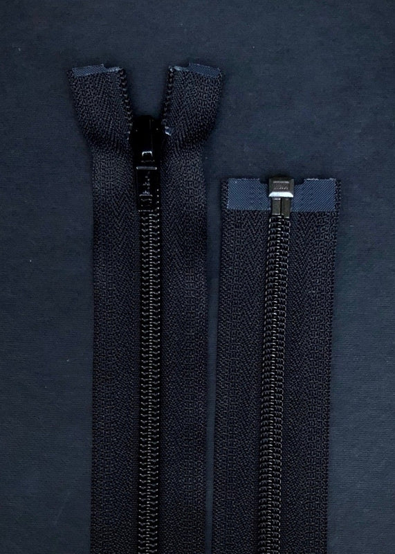 YKK, Open Ended Zip.  5 Coil Nylon. Black