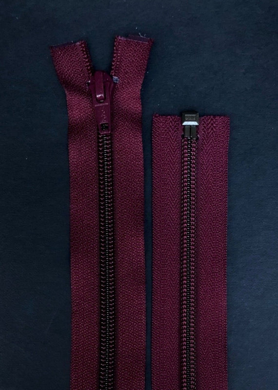 YKK, Open Ended Zip.  5 Coil Nylon. Bordeaux
