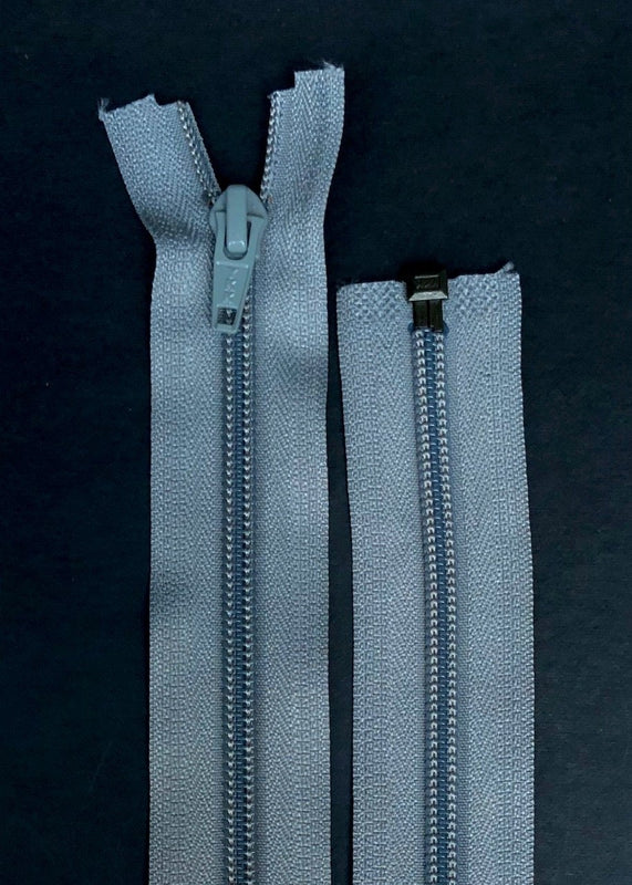 YKK, Open Ended Zip.  5 Coil Nylon. Grey