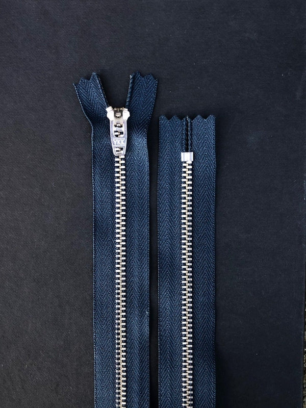 YKK Metal Nickel Jeans Zip - Navy, 18cm
