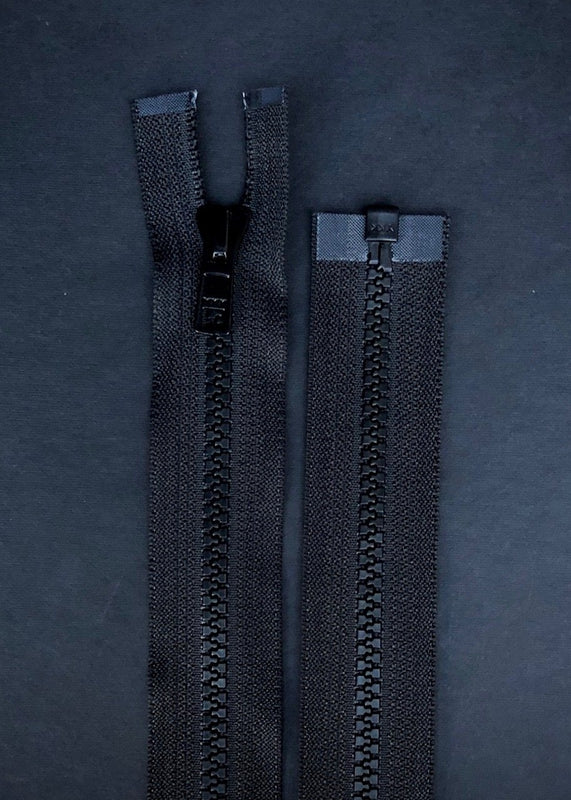 YKK, Open Ended Zip.  Vislon 5. Black