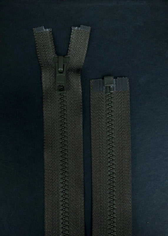 YKK, Open Ended Zip.  Vislon 5. Khaki