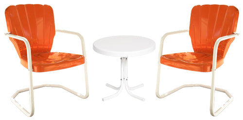 Torrans Thunderbird Retro Metal Chair Set of Two Plus Side Table