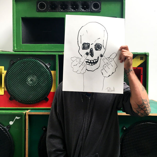 tim strong, limited edition artwork, skullman flip off, sketch series