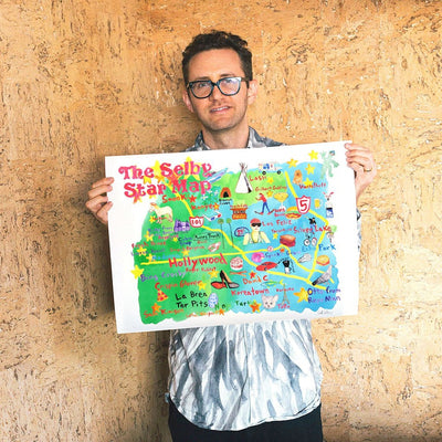 The Selby's LA Star Map is a newPrint by Todd Selby | Poster Child Prints
