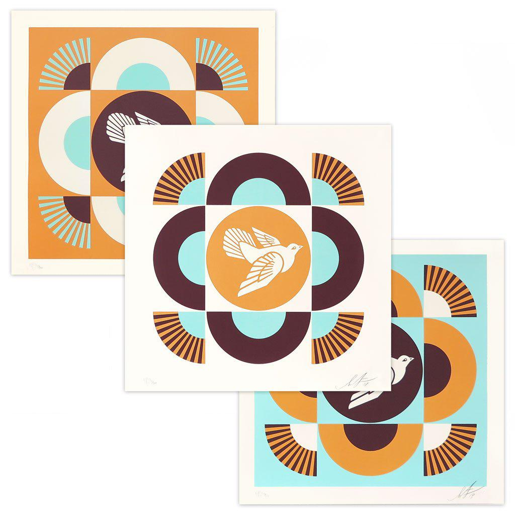 OBEY Geometric Doves, Blue/Orange by Shepard Fairey | Archive | Poster Child Prints