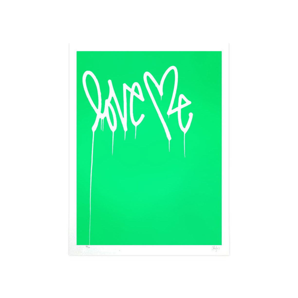 Love Me, Fluorescent Green - Archive by Curtis Kulig-Archive-Poster Child Prints