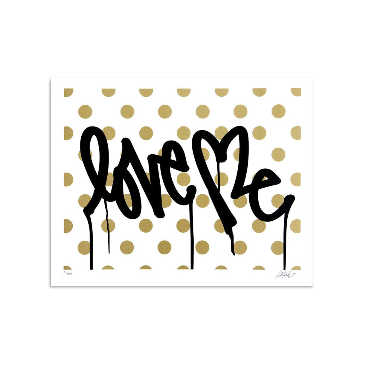 Love Me, Forever Gold - White - Archive by Curtis Kulig-Archive-Poster Child Prints