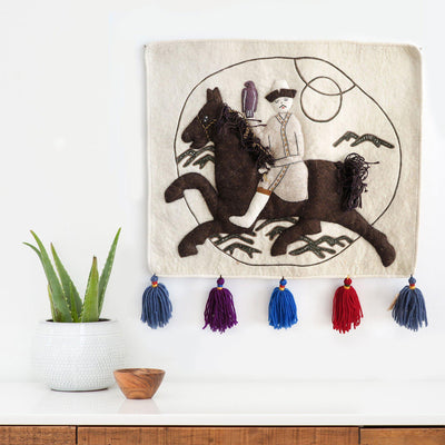 Man on Horse Wall Hanging | Poster Child Prints | Found Art | One of a Kind