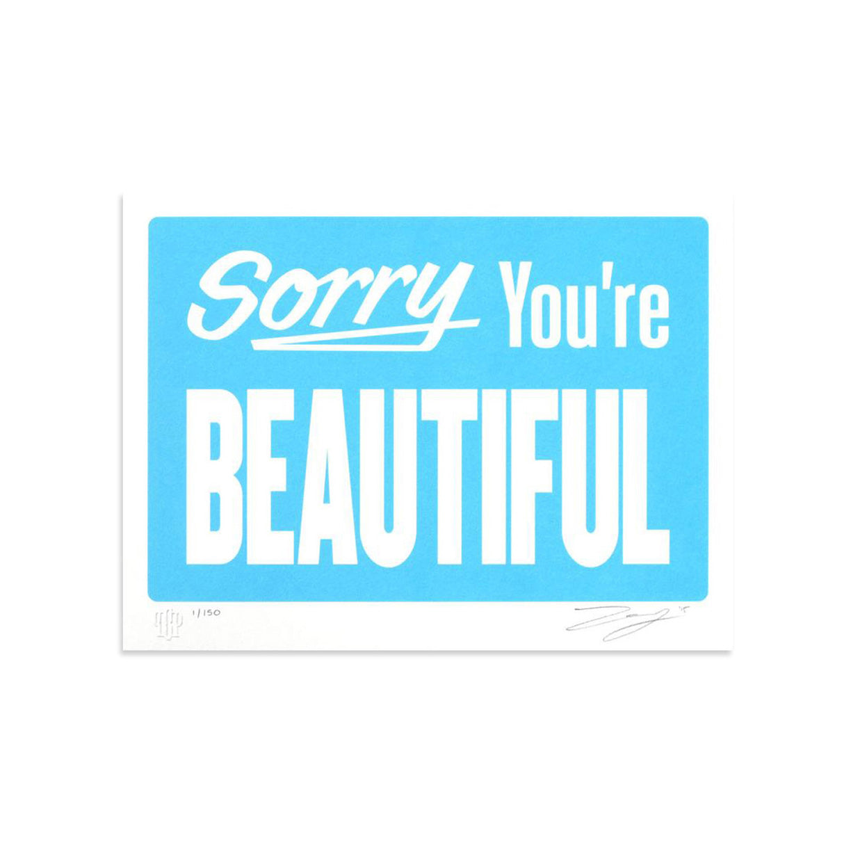 Sorry You're Beautiful - Pastel Blue by Michael Coleman-Print-Poster Child Prints