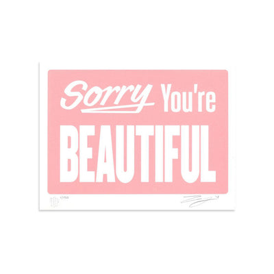 Sorry You're Beautiful - Pastel Pink by Michael Coleman-Print-Poster Child Prints