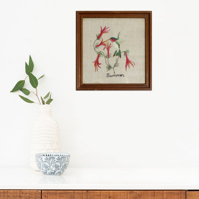 Found Art | Poster Child Prints | Vintage Textile Art | One-of-a-Kind | Embroidery | Bird | Summer Season