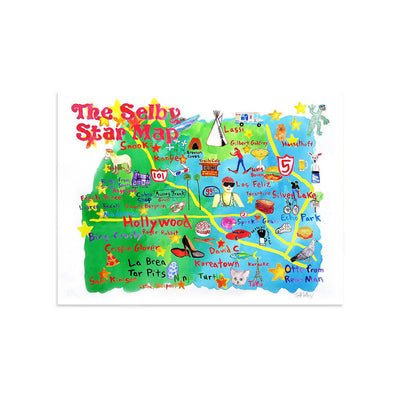 The Selby's LA Star Map by Todd Selby-Print-Poster Child Prints