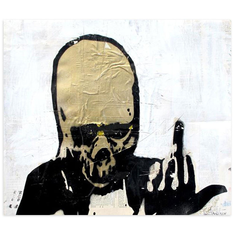 Gold Skull Giving Finger by Tim Armstrong | Original Artwork | Poster Child Prints
