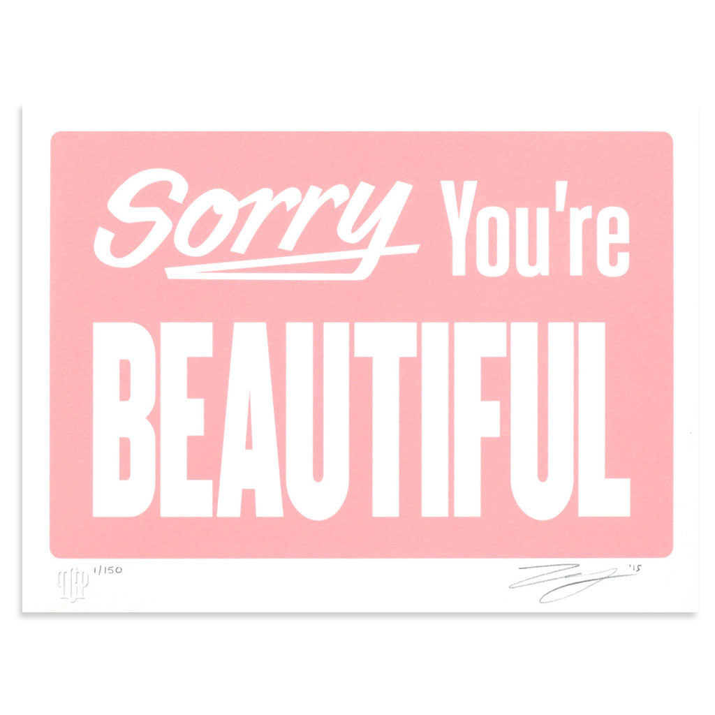 Sorry You're Beautiful - Pastel Pink by Michael Coleman | Print | Poster Child Prints