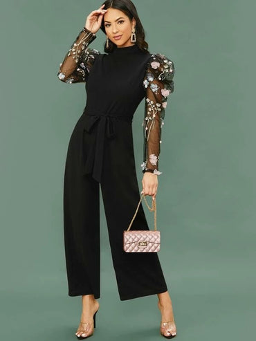3D Applique Embroidered Mesh Gigot Sleeve Wide Leg Jumpsuit