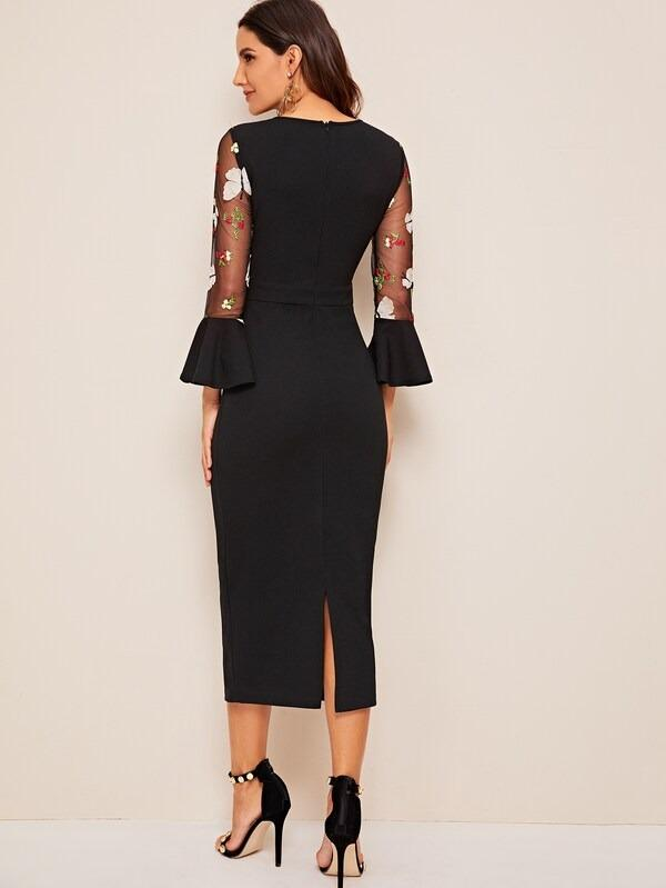 3D Applique Embroidered Mesh Yoke Pencil Dress